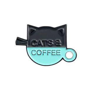 Cats & Coffee Pin Brooch Kitten
